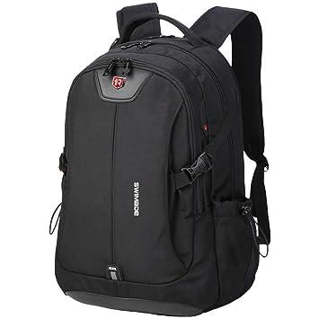 JinQng Mochila escolar, hermosa y práctica, hay una fila de mochilas para hombres, bolsas para estudiantes, bolsas de viaje, negras: Amazon.es: Equipaje