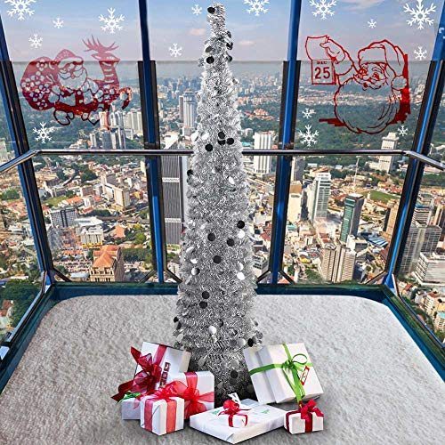 PartyTalk 5ft Pop Up Christmas Tree with Stand, Silver Tinsel Collapsible Artificial Christmas Tree for Holiday Christmas Home Decorations by PartyTalk (Image #3)
