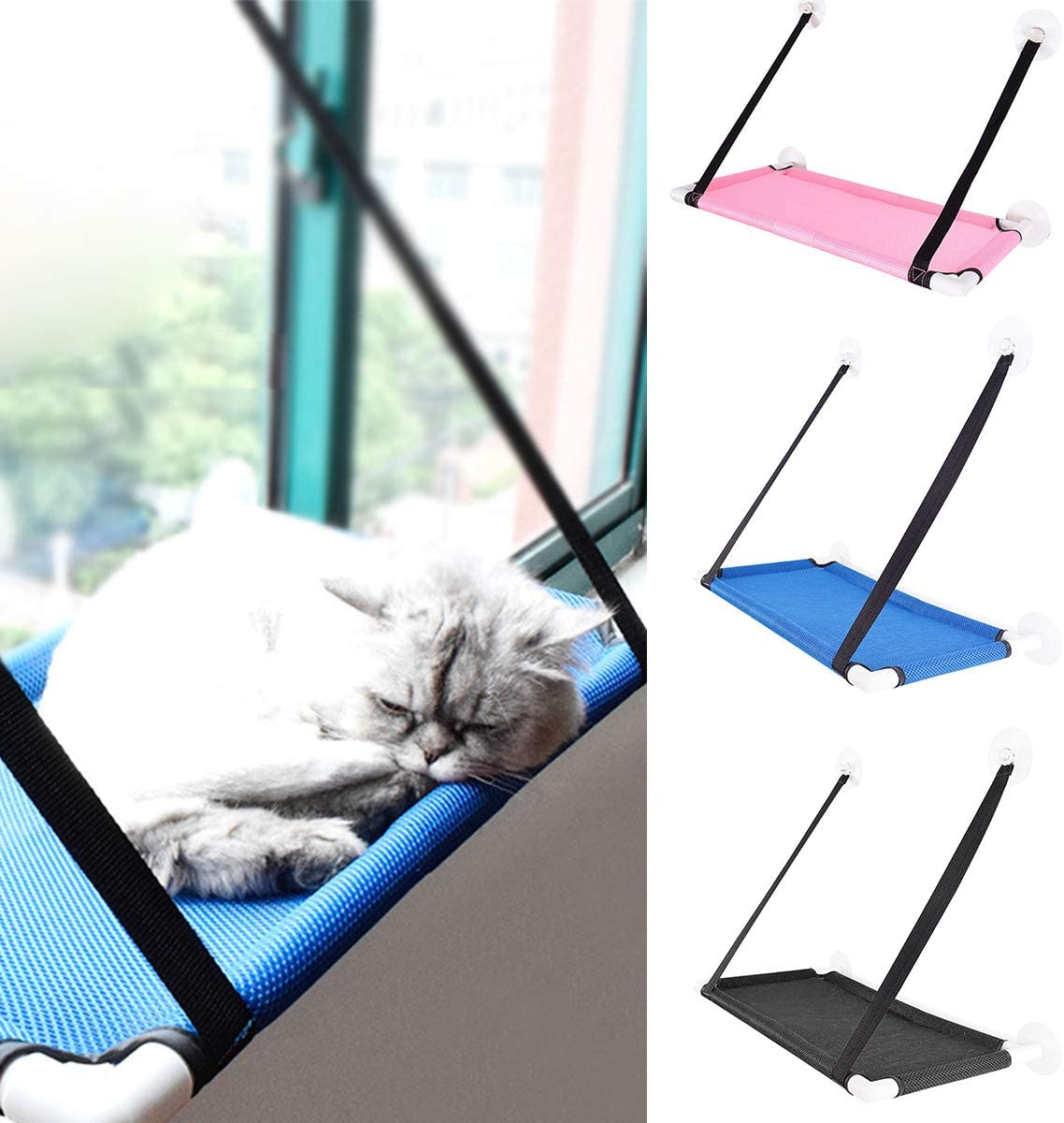 great-fyl Cat Window Perch Cat Bed Cat Window Hammock Pet Window Mounted Cat Seat with Strong Suction Cups 23.6/×13.4