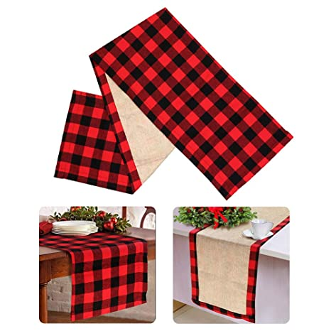 Christmas Table Runners.Ourwarm Cotton Burlap Buffalo Plaid Table Runner Christmas Reversible Red And Black Checkered Table Runners For Holiday Christmas Table Decorations