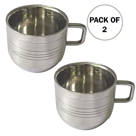 Juego de 2 tazas de té y café de acero inoxidable, tazas ...