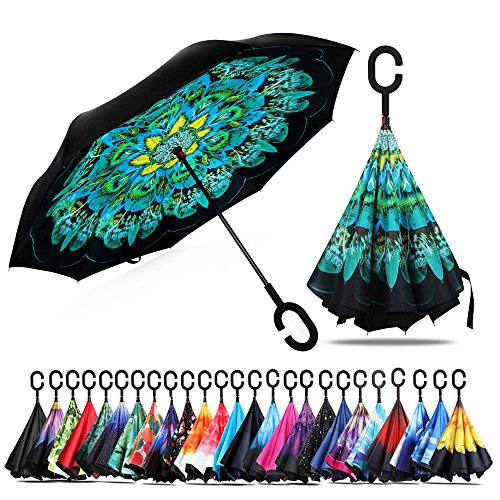 Owen Kyne Windproof Double Layer Folding Inverted Umbrella, Self Stand Upside-Down Rain Protection Car Reverse Umbrellas C-Shaped Handle (New Peacock)