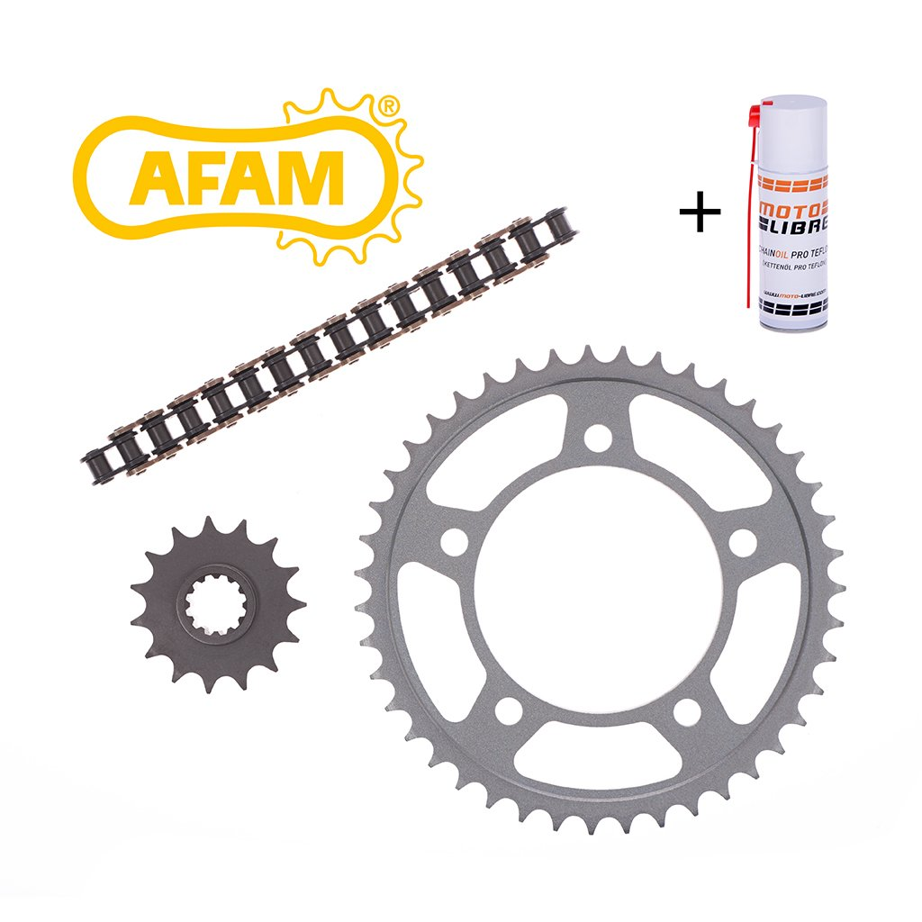 Motorcycle Chain Kit Set AFAM KTM SX 85 (Kleinrad 17/14 Zoll) 2004> incl. high quality chain, front and rear sprocket, connection link + chain lube