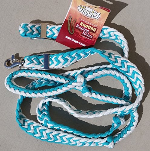 Tough-1 Deluxe Knotted Roping/Barrel REINS Turquoise & White Scissor SNAP & Conway Buckle