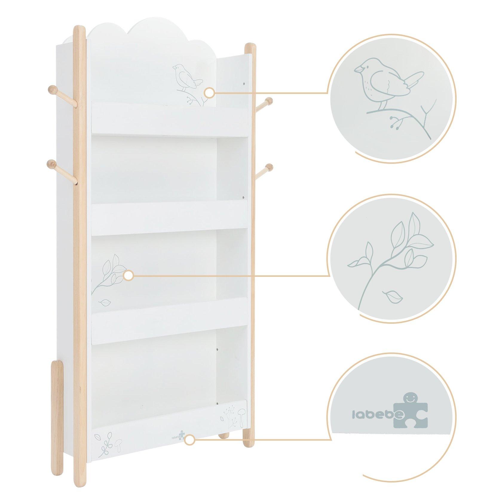 Labebe Kid Bookshelf With Wheels Wood White Bird