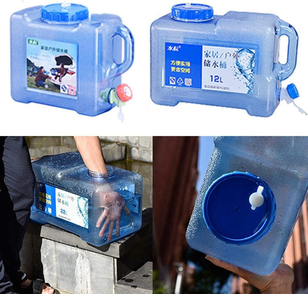 KEIBODETRD Water Container with Spigot,5L 12L Outdoor Car Self-driving Water Storage Bucket with Faucet Household Drinking Water Storage Organizer for Outdoors Hiking Hurricane Emergency