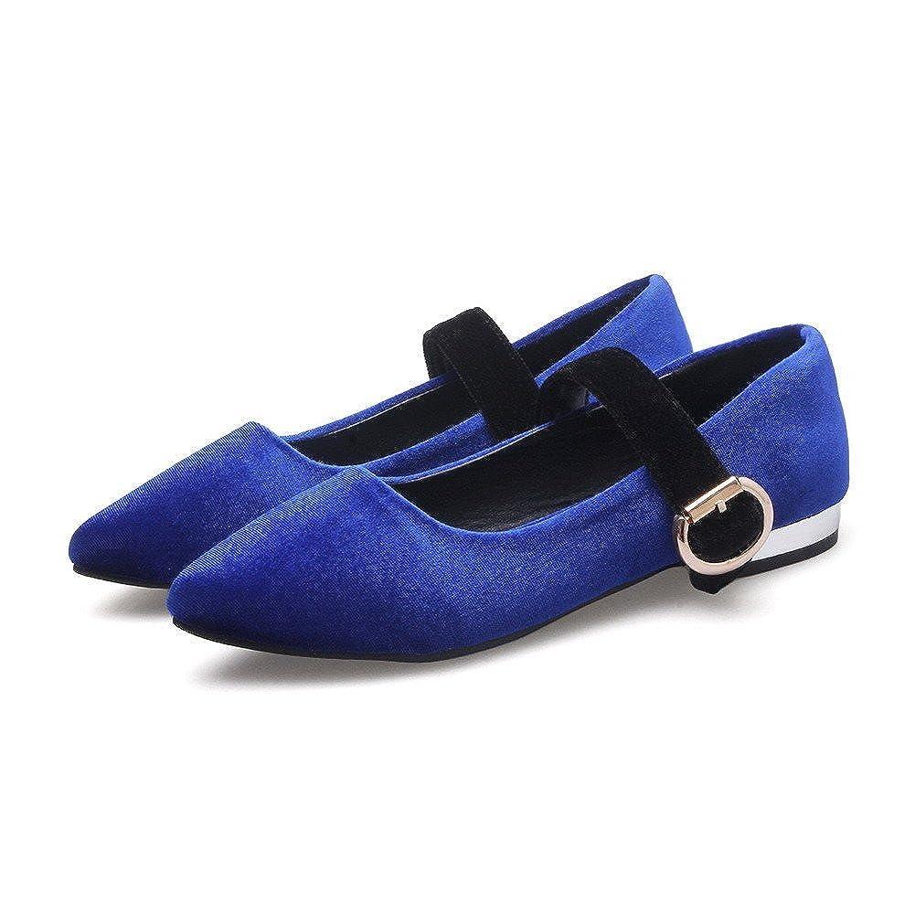 AalarDom Femme Pointu à Talon Bas Suédé Couleur Unie Tire Chaussures Légeres Bleu