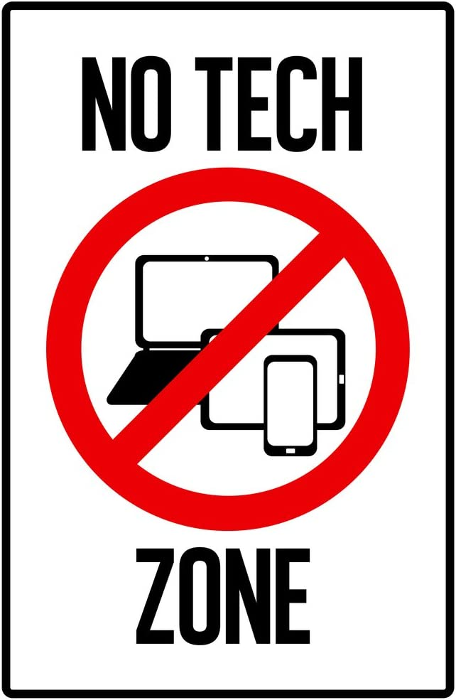 Warning Sign No Tech Zone Computers Laptop Tablet Cellular Phone Prohibited  Cool Wall Decor Art Print Poster 30x46: Amazon.co.uk: Kitchen & Home