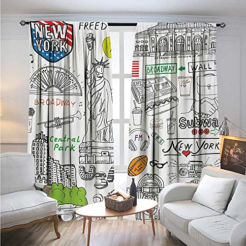 BlountDecor AmericanBlackout DrapesNew York City Culture Metropolitan Museum Broadway Crossroad Wall Street Sketch StyleBlackout Curtains Room Darkening Thermal Insulated W72 x L108 White