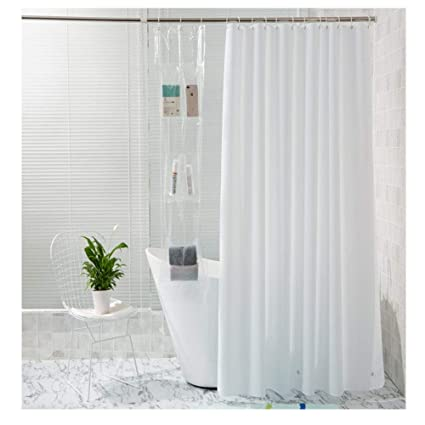 BSROZKI Shower Curtain Liner Organizer Holder For Cell Phone Tablet With 4 Large Touchscreen Waterproof Pockets