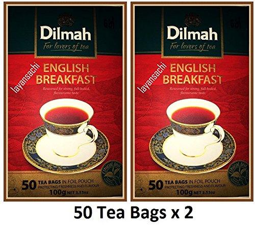 Dilmah English Breakfast Tea 50 Tea Bags 100g (3.52 Oz) (Pack of 2)