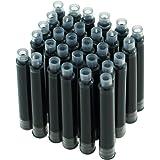 Hongdian Fountain Pen Ink Cartridges Black Color, Set of 30 Refill Ink Cartridges, 3.4 mm Bore Diameter