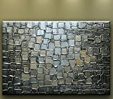 Oil Painting Abstract Modern Contemporary Art on Canvas Huge Silver Squares (36x48)