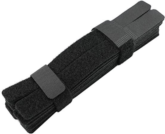 6 Inch Strong /&Microfiber fastening cloth Black. 20 Piece Adjustable Fastener Cable Strap Hook and Loop Cord Ties Reusable Cable Ties Management Straps -