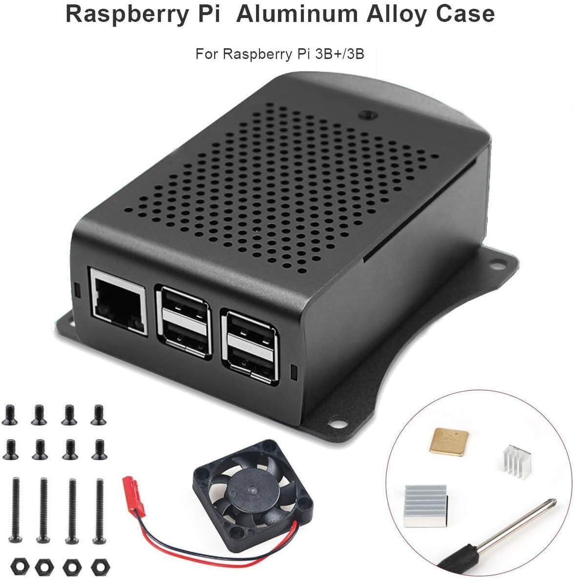 MakerHawk Raspberry Pi Estuche con Ventilador, Raspberry Pi 3 B + Estuche de aleación de Aluminio con disipador de Calor y Destornillador para RPi 3B +, RPi 3/2, RPi B: Amazon.es: Electrónica