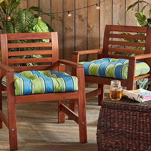 South Pine Porch AM6800S2-Cayman Cayman Stripe Outdoor 20-inch Seat Cushion