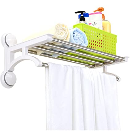 Charmant Bathroom Shelves Shelf Suction Cup Towel Rack Free Punching Bathroom  Hanging Towel Rack Bathroom Double Pole