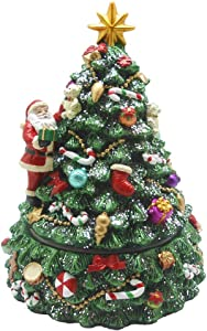 Lightahead Musical Revolving Christmas Tree with Santa Claus and Christmas Music Playing in Poly Resin