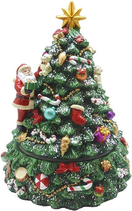 Lightahead Árbol de Navidad musical giratorio con Papá Noel y música navideña tocando en poliresina