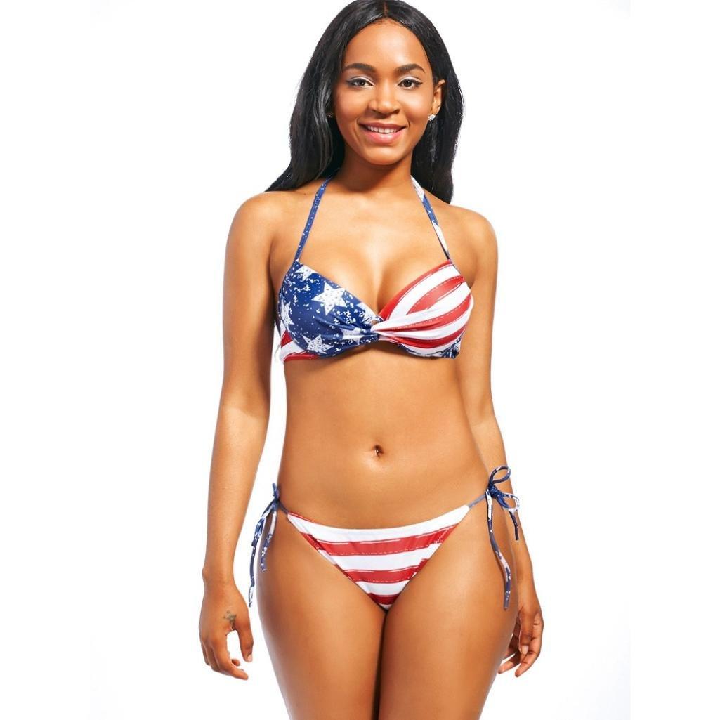 RAISINGTOP Women American Flag Print Bikini Set Swimwear Separates Push-Up Padded Bra Swimsuit Beachwear Two Pieces