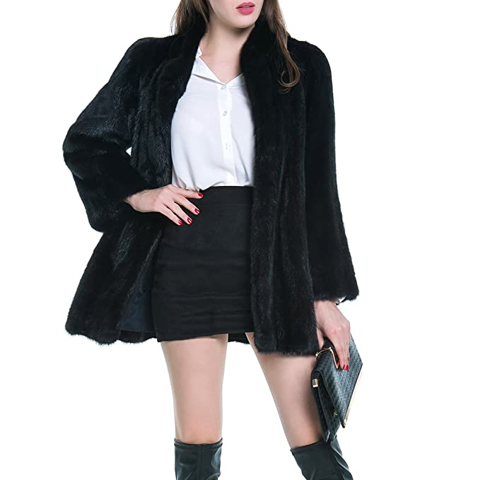 YYF Mens Luxury Faux Fox Fur Warm Parka Long Coat Jacket Overcoat