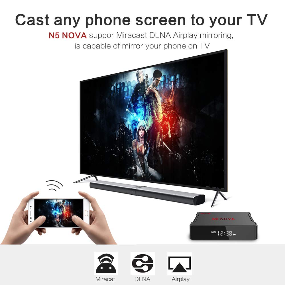 4GB Ram 32GB Rom Rockchip RK3318 Quad-Core 64-bit ARM Cortex-A53 WiFi 2.4Ghz//5Ghz Bluetooth 4.0 USB 3.0 Miracat DLNA Airplay Magicsee N5 Nova Android 9.0 TV Box with Voice Air Remote Mouse 4+32GB