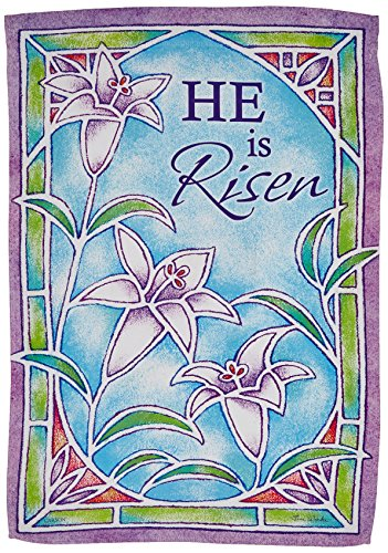 Carson Home Accents Outdoor Flag, Stained Glass Easter Lily, (Green Lilies Stained Glass)