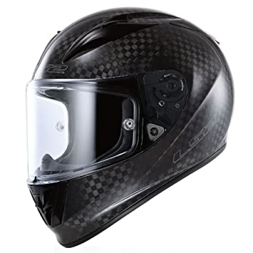 LS2 Arrow Carbon Full Face Motorcycle Helmet (Black, X-Small)
