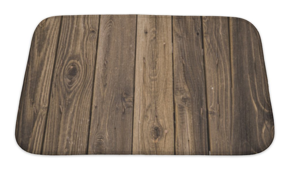 Gear New Wood Bath Mat Rug, Microfiber Memory Foam with no Skid Back, 24''x17'' GN24924