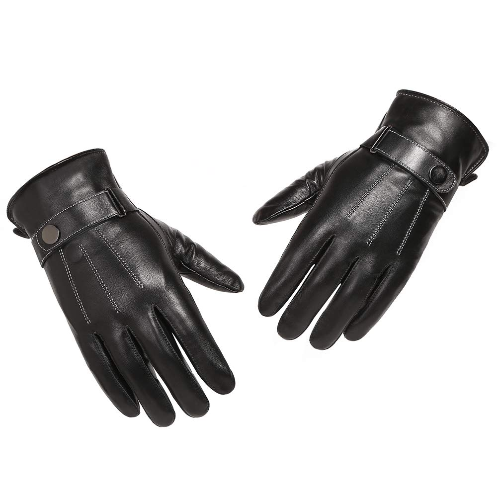 BYST Leather Gloves,Mens Touchscreen Texing Gloves,Cold Weather Winter Cycling M1