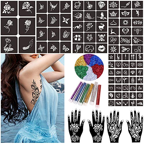Glitter Henna Tattoo Stencils Kit, Temporary Tattoo Stencils for Kids Adults, Body Art Painting Stencils Reusable, Henna Stencils Flower Butterfly Designs (15 Pcs)