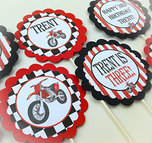 12 Cupcake Toppers - Motorcycle Happy Birthday Collection - Black White Checkers, Red Stripes, Motorcylce Graphic, Checkered Flag -