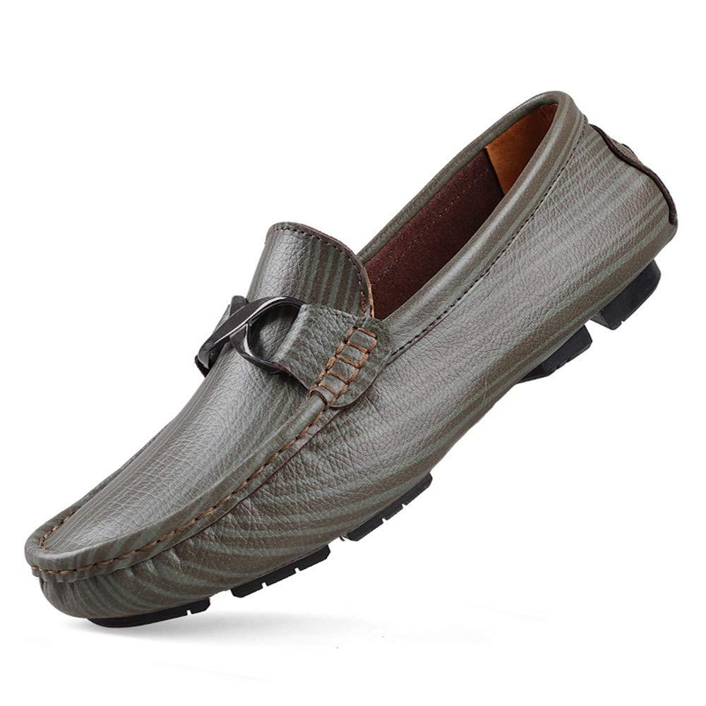 Qiusa Große Männer Größe Driving Schuhes für Männer Große Echtes Leder Weiche Sohle Rutschfeste Beiläufige Müßiggänger (Farbe : Grün, Größe : EU 46) Grün 11c34c