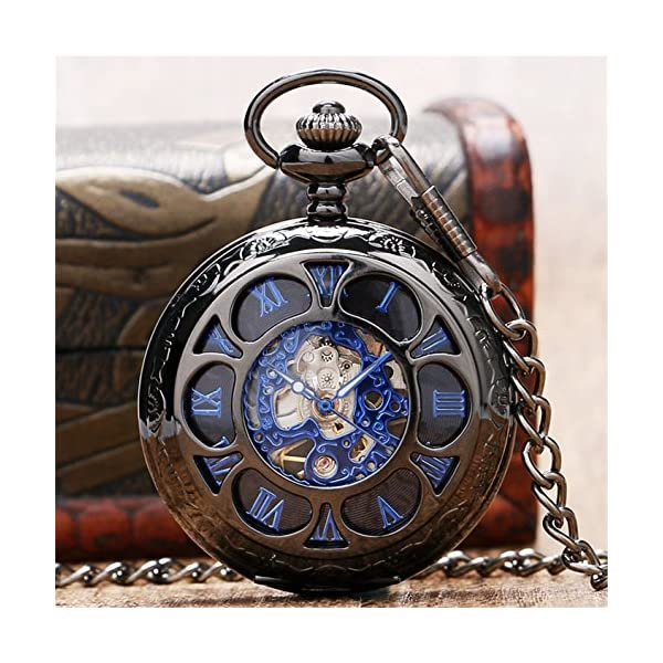 Luxury Men Pocket Watch with Chain Roman Numberal Hollow Steampunk Skeleton Mechanical Watches 5