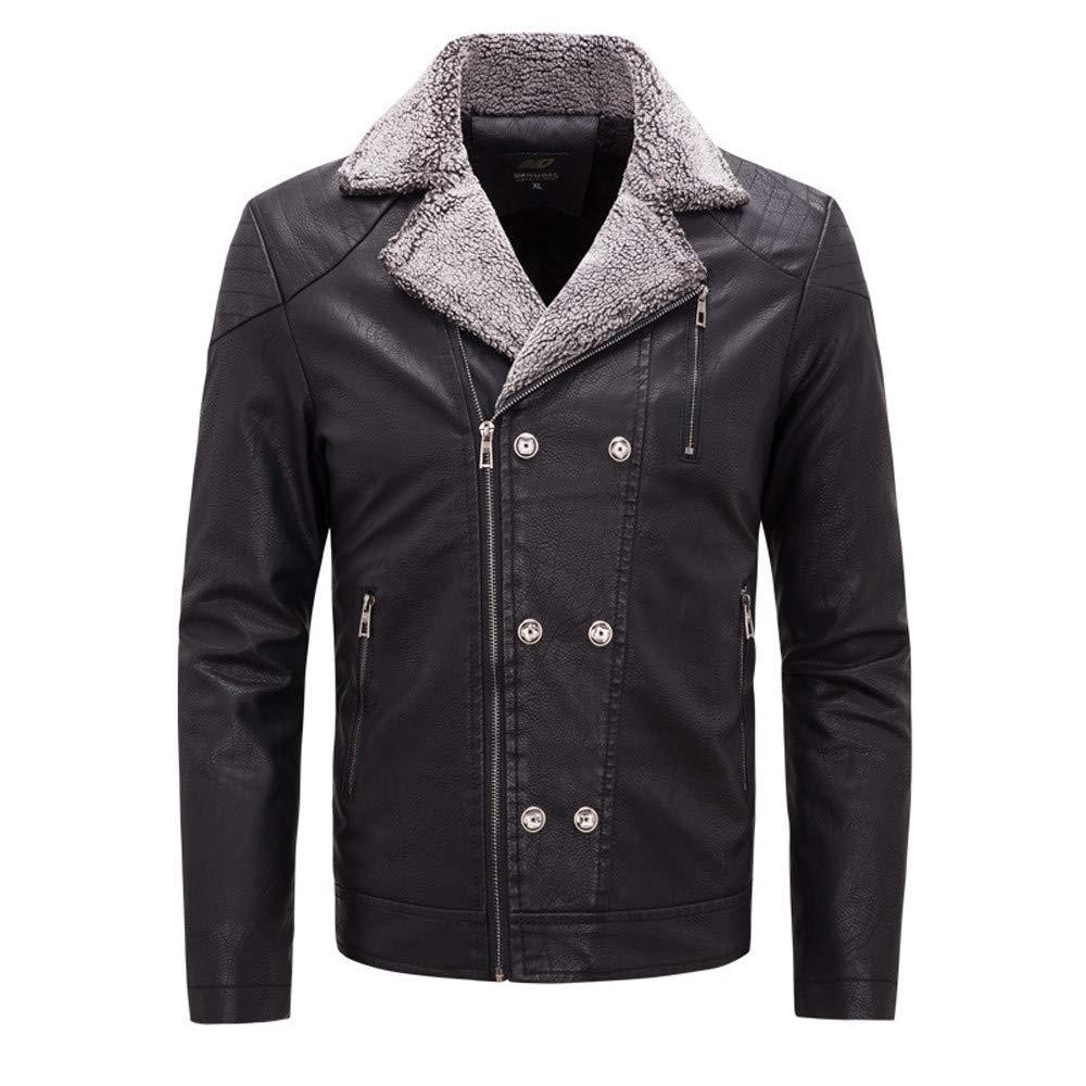 Black L Black L Ennglun Winter Jacket for Men,Men's Winter PU Leather Double-Breasted Suit Outwear Tops Coat,Winter Coats for Men (L, Black)