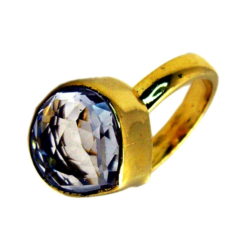 Natural Crystal Quartz Gold Plated Ring For Women Pear Shape Faceted Cut Handmade Size 5,6,7,8,9,10,11,12