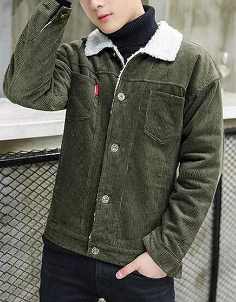 MOUTEN Men Corduroy Warm Winter Lamb Wool Lined Quilted Jacket Parka Coat Outerwear