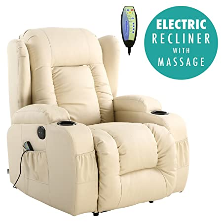 Exceptional More4Homes (tm) CAESAR ELECTRIC AUTO RECLINER MASSAGE HEATED GAMING WING  LOUNGE BONDED LEATHER CHAIR