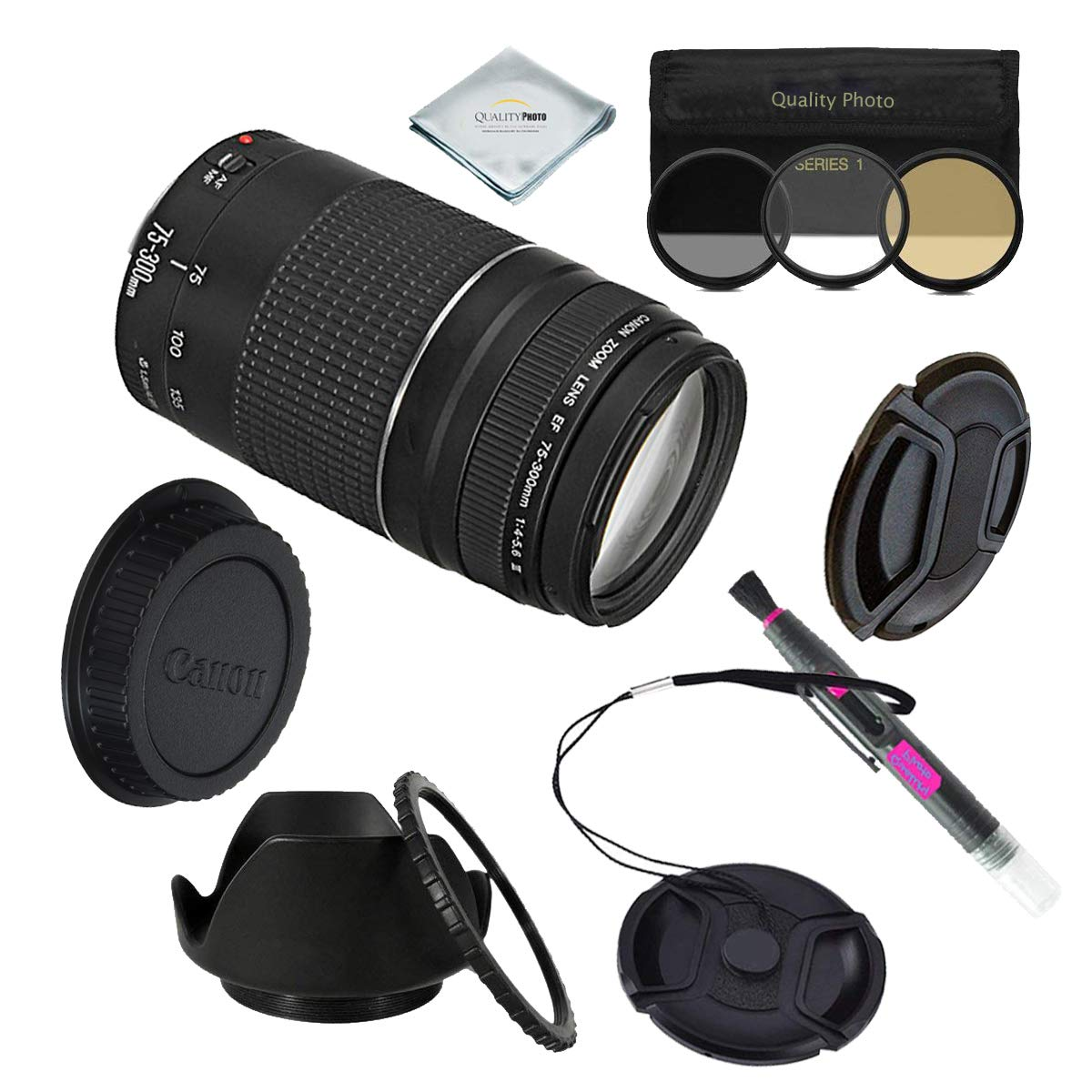 Canon EF 75 – 300 mm f / 4 – 5.6 III望遠ズームレンズfor Canon SLR Cameras + Extra Accessories B01K2MS8Q8