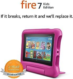 Tablet Fire 7 Kids Edition, pantalla de 7 pulgadas, 16 GB, Funda protectora Rosa para niños