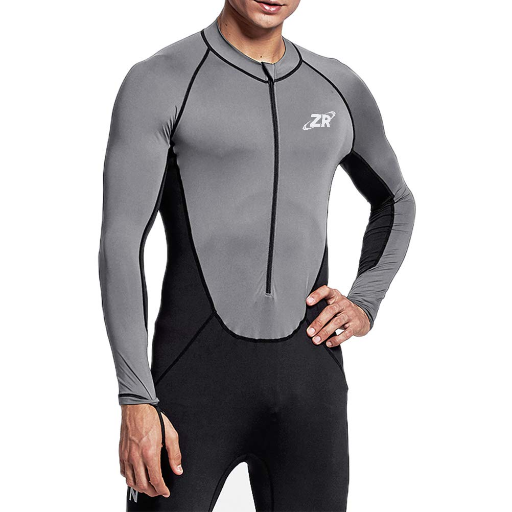 Zionor Full Body Sport Rash Guard Dive Skin Suit for Swimming Snorkeling Diving Surfing with UV Sun Protection Long-Sleeve for Men Grey (Medium) by Zionor