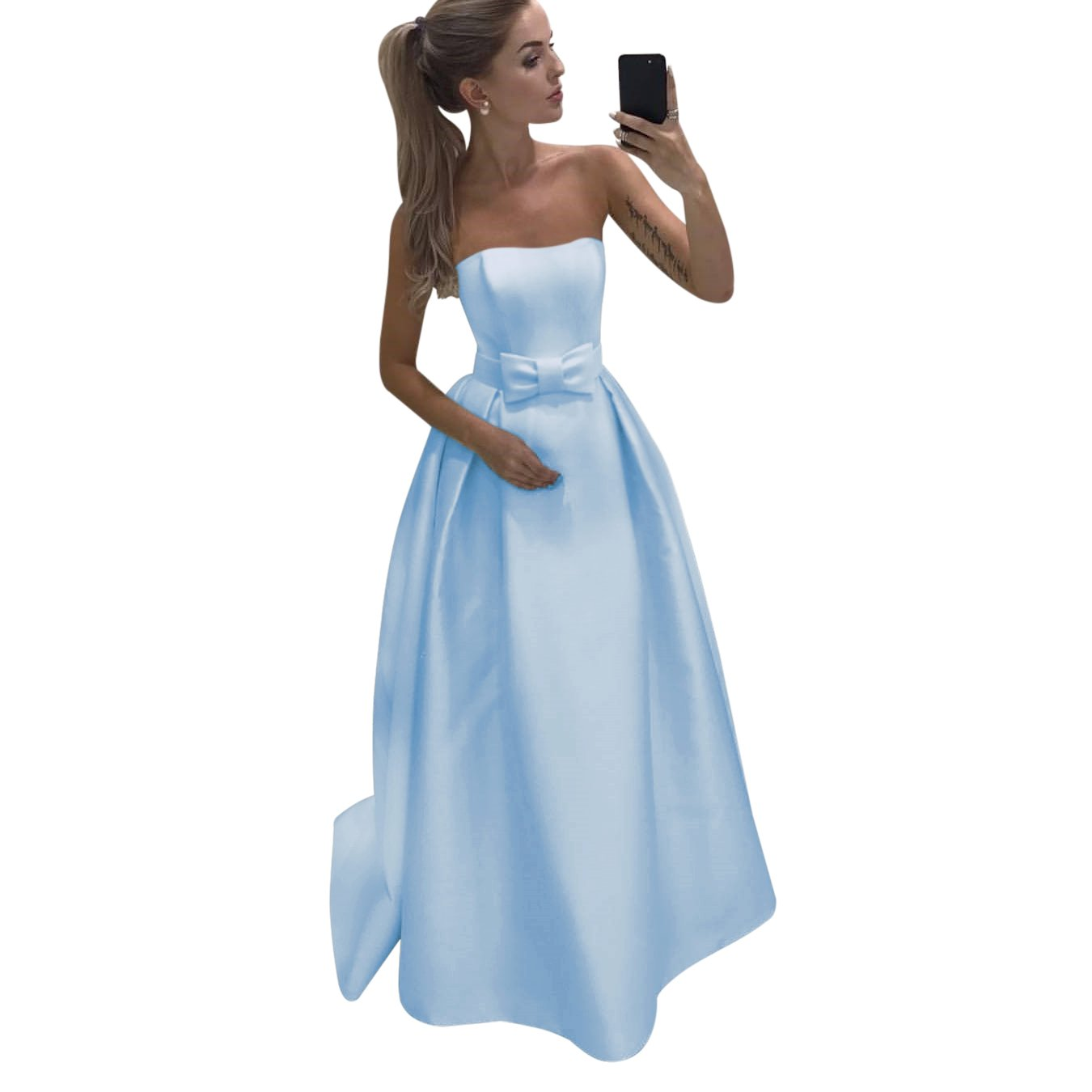 36269f417aa6 Harsuccting Strapless Backless Bow Tie Long Satin Prom Dress Bridesmaid  Dress at Amazon Women's Clothing store: