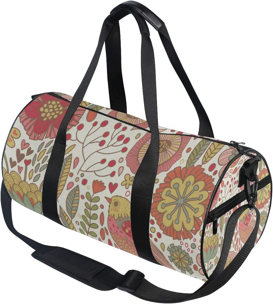 Duffel Bags Birds Flowers Floral Leaves Funny Womens Gym Yoga Bag Small Fun Sports Bag for Men