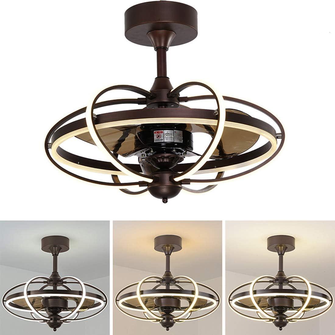Ventilador de Techo con Control Remoto y luz LED, Ventiladores Reversibles, Lámpara de Suspensión de Ventilador ABS Fuente de luz LED Regulable en Tres Colores, φ60 * H55cm