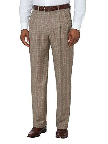 Retro Clothing for Men | Vintage Men's Fashion Paul Fredrick Mens Wool Patterned Pleated Pants $79.98 AT vintagedancer.com