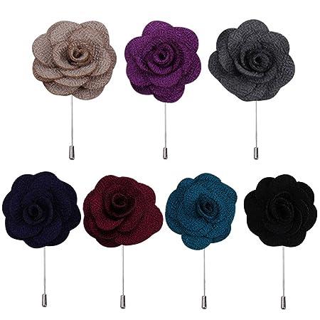68ff012f1c886 7Pcs Unisex Women Men Flower Shape Cloth Fabric Lapel Pin Boutonniere Stick  Brooch Accessories for Wedding