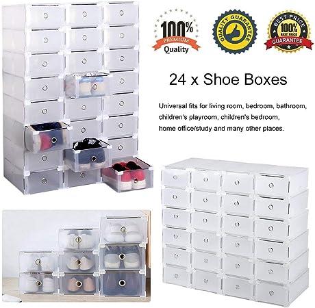 Homgrace 24 Cajas para Zapatos Transparente Plástico, Caja Guardar Zapatos para la Organización Hogar: Amazon.es: Hogar