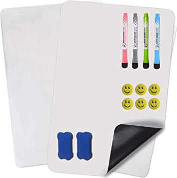 """3 Markers /& 6 Fridge Magnets Prefer Green Magnetic Dry Eraser White Board Sheet for Kitchen Refrigerator with Stain Resistant Technology Organizer /& Planner Whiteboard 17/"""" X 12/"""" Include 1 Eraser"""