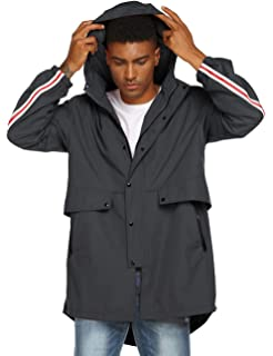 Tretorn Metro Raincoat Jacket Mens Hooded Windbreaker Coat Black 475338 10 A71D