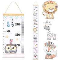 JJGoo Baby Growth Chart Hanging Ruler Wall Decor, Wood Frame Fabric Canvas Removable Height Measurement Ruler Wall Height Growth Chart for Kids Toddlers and Babies (Animal Pattern)